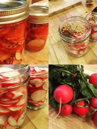 montage of pickled radishes