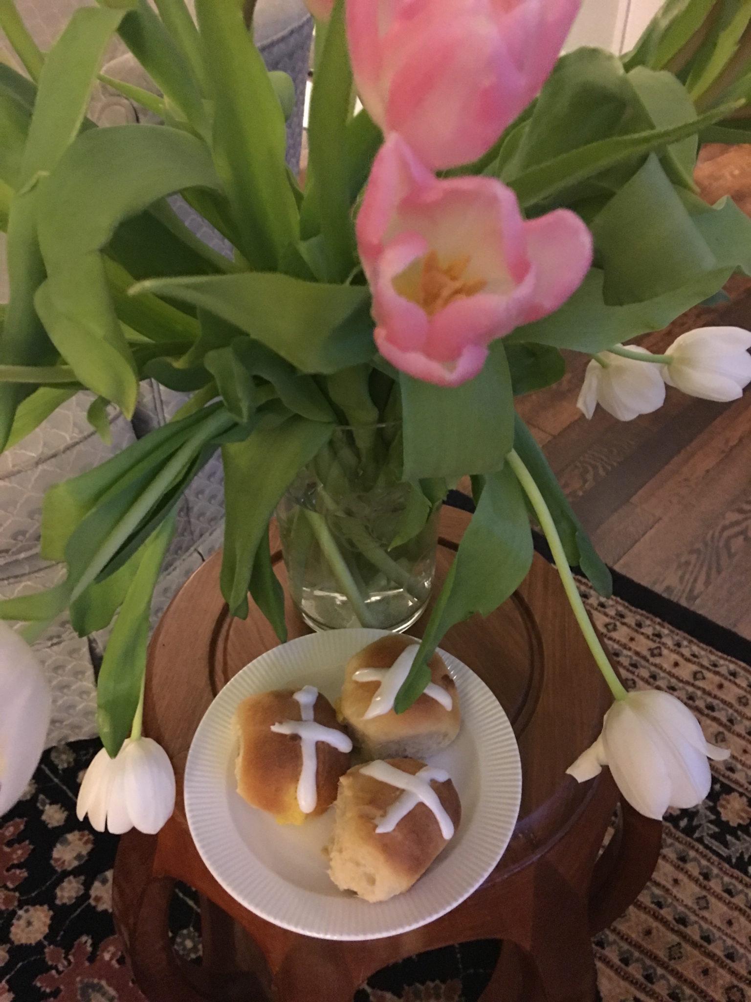 Hot Cross Buns under tulips