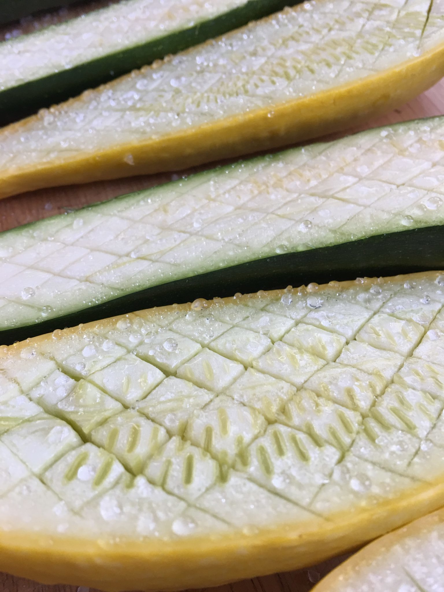 Zucchini prepared for roasting
