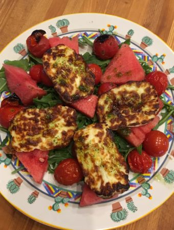 Grilled Halloumi with tomatoes and watermelon