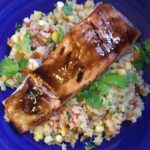 Glazed Salmon on a bed of Cauliflower Rice