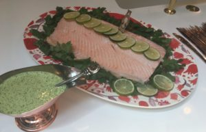 THE PINK BRUNCH, PART 1:  WHOLE POACHED SALMON WITH LIME CILANTRO SAUCE