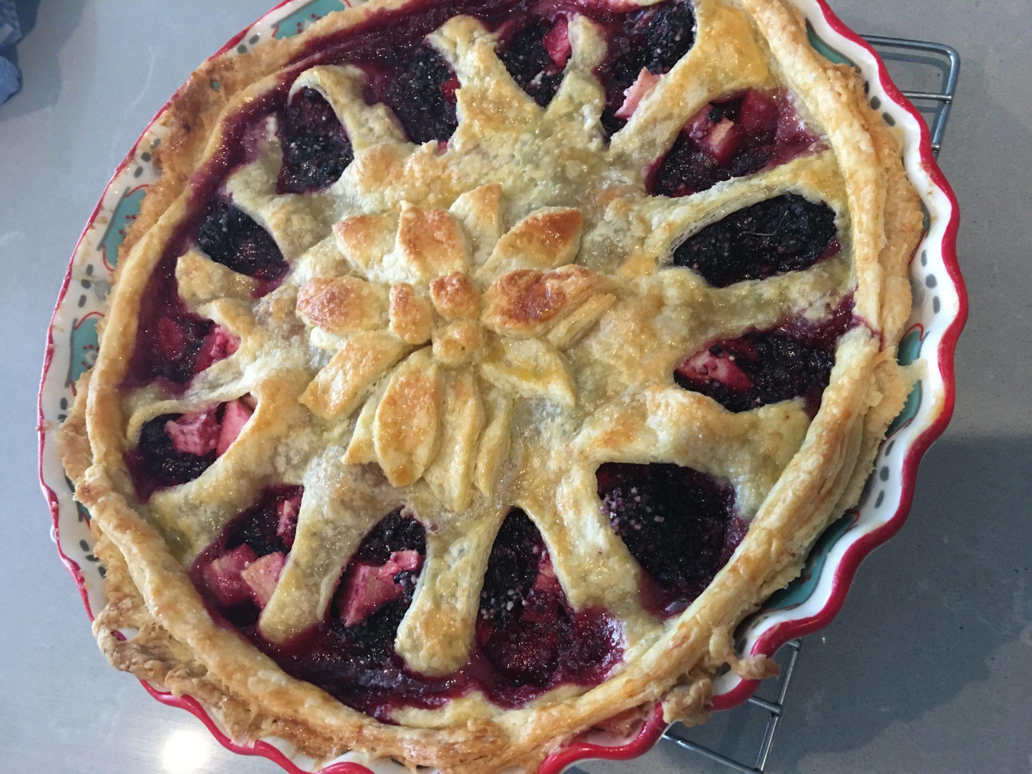 Pear-Blackberry pie with decorative crust