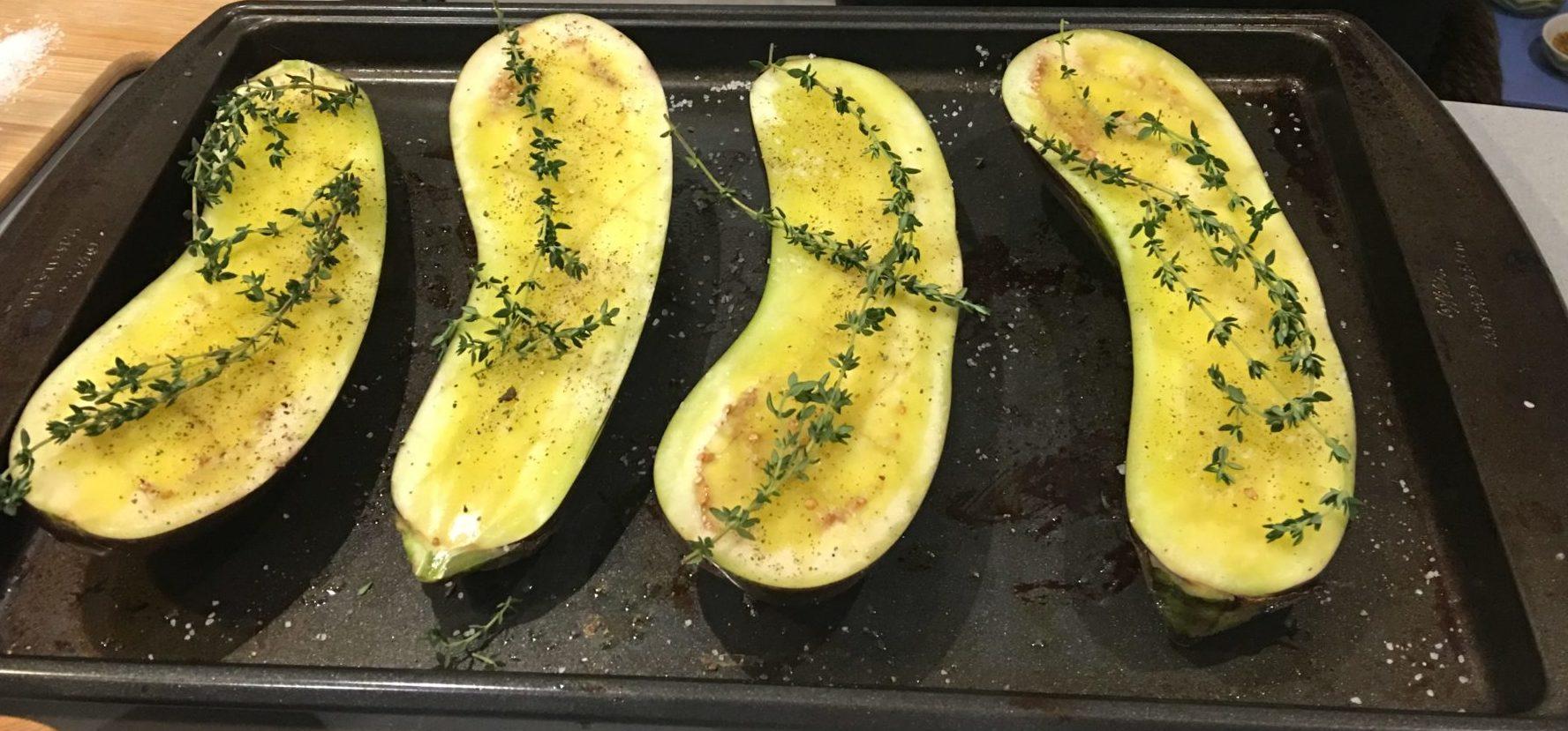 Olive oil brushed eggplant