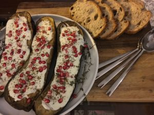OTT0LENGHI'S EGGPLANT WITH BUTTERMILK SAUCE AND POMEGRANATE