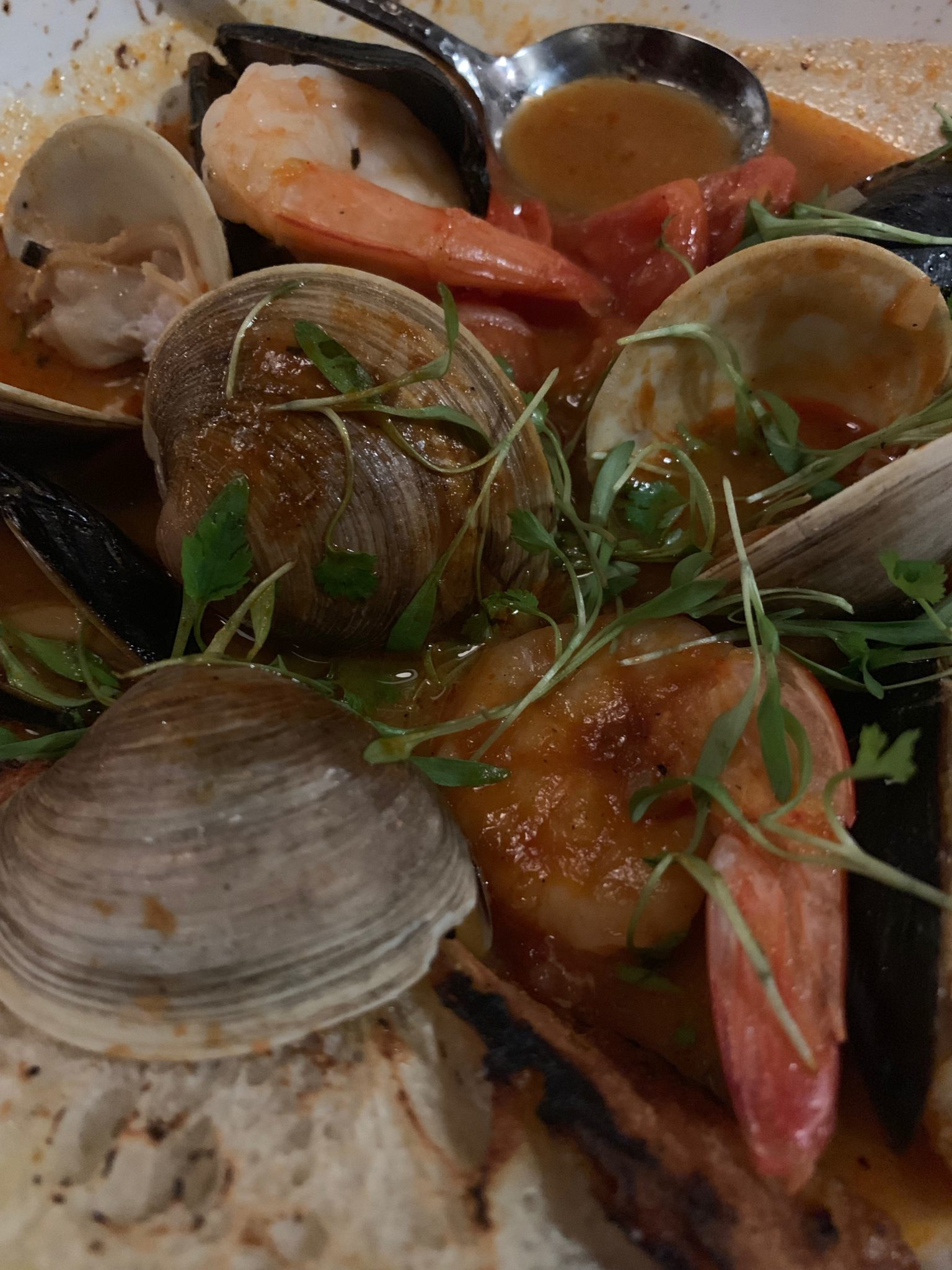Shrimps, clams and seafood broth