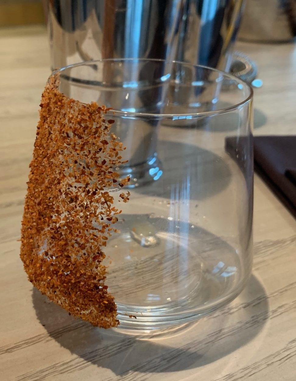 glass dipped in spice mixture