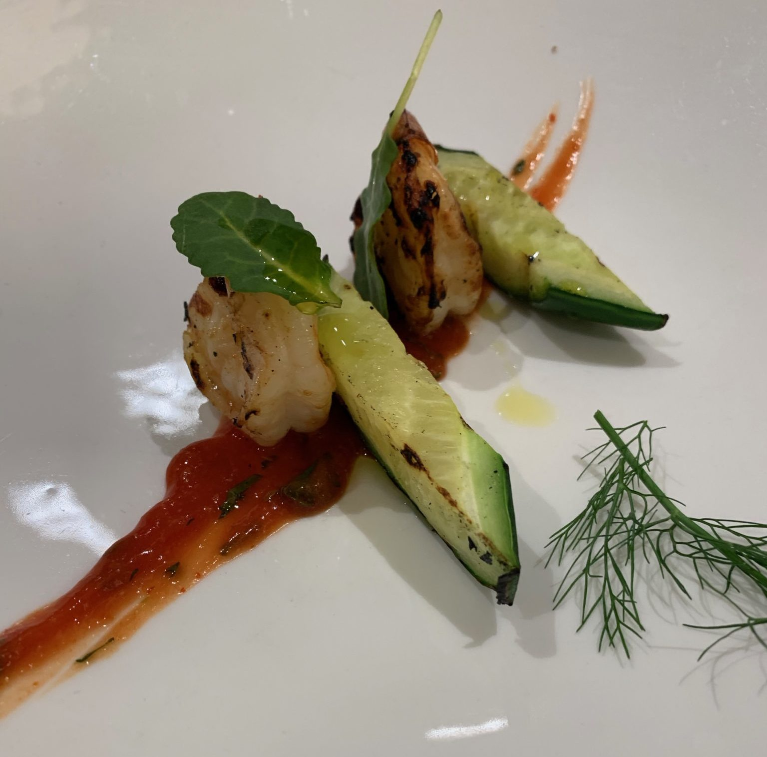 Shrimp and grilled cucumber
