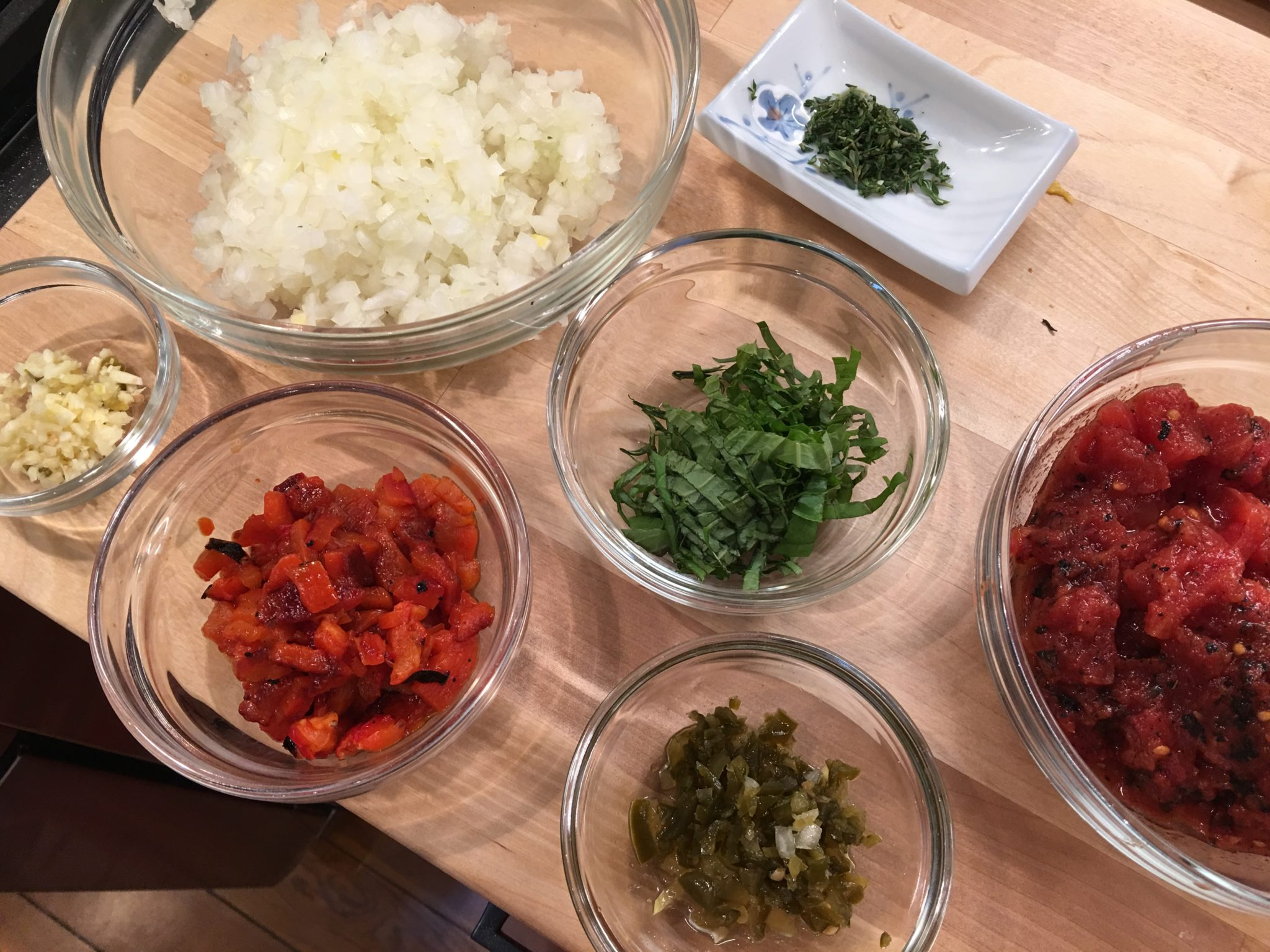 Mise en place for Spicy Pepper Relish
