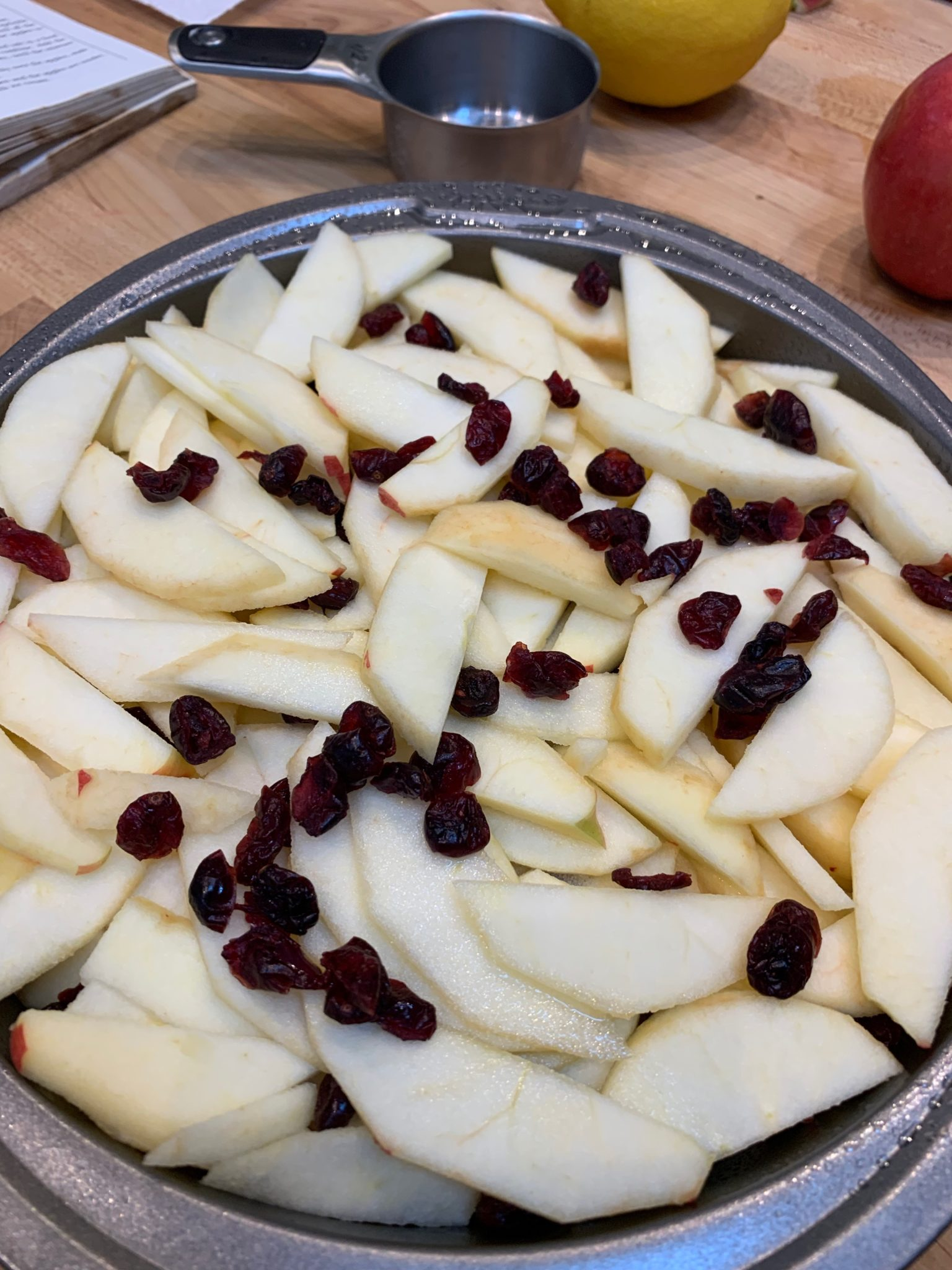 sliced apples and dried cranberries