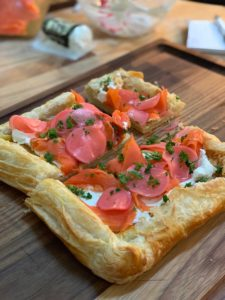 Tarragon pickled radish and smoke salmon tart