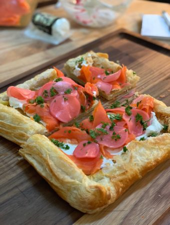 Tarragon pickled radish and smoke salmon tart
