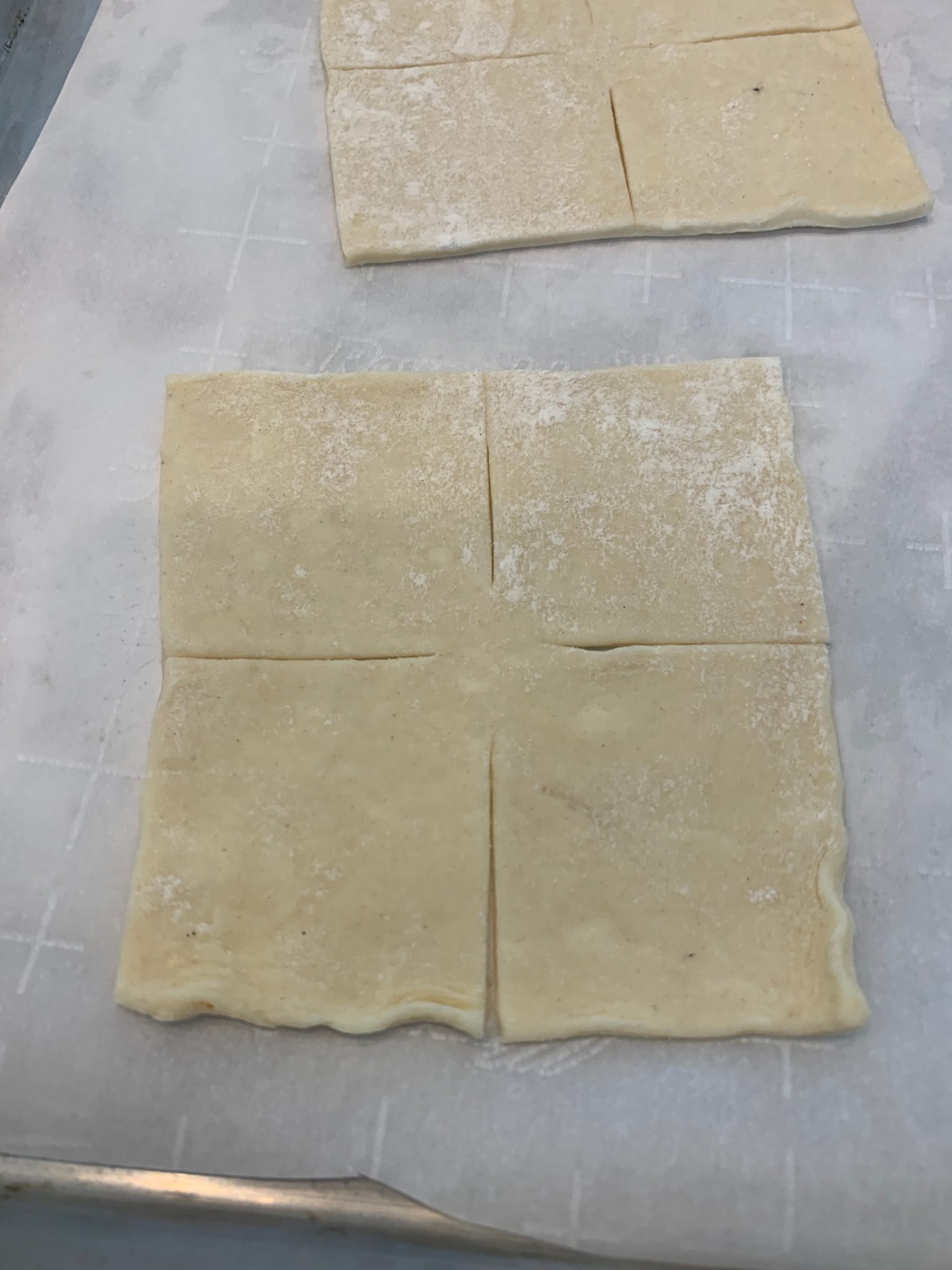 Sqaure of raw pastry for Danish pocket