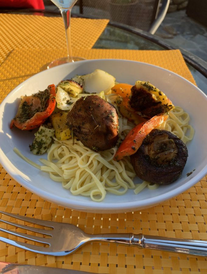 Grilled Halloumi Cheese with vegetables and pasta