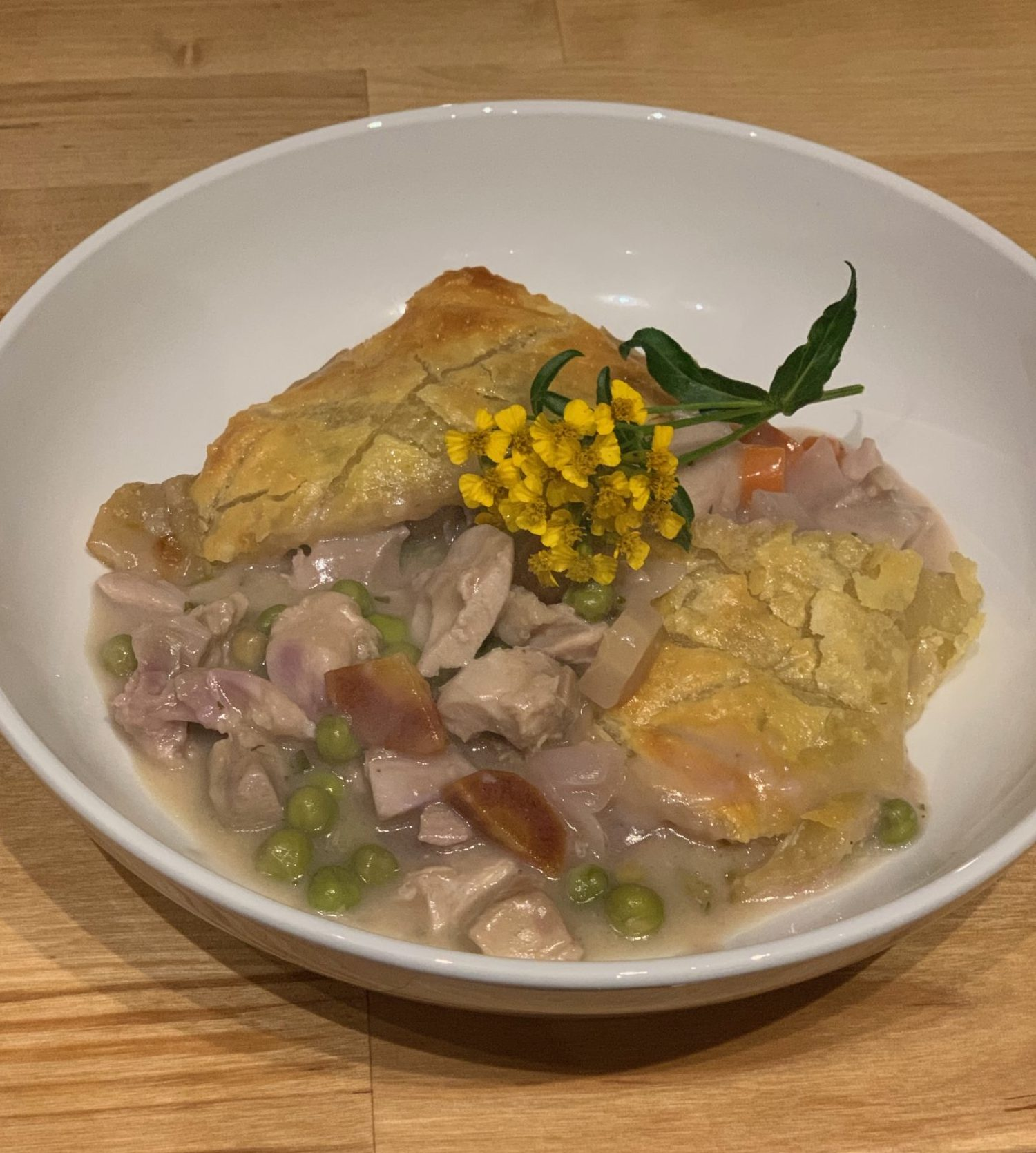 Showing the finished dish of Chicken Potpie