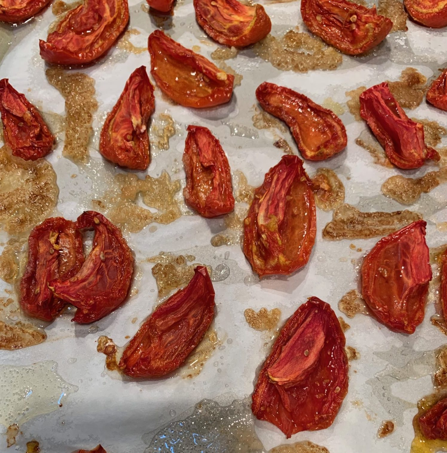 Slow roasted tomatoes will be dried but soft