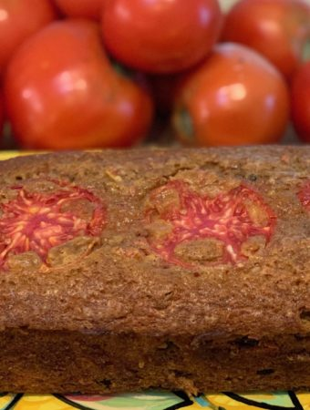 Finished tomato quick bread on a plate