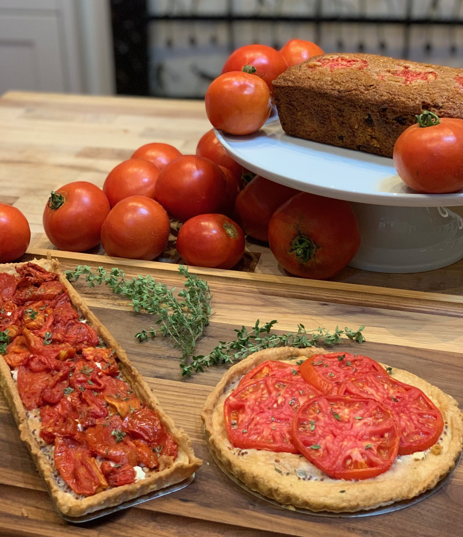 Displaying baked goods which can be made with fresh tomatoes