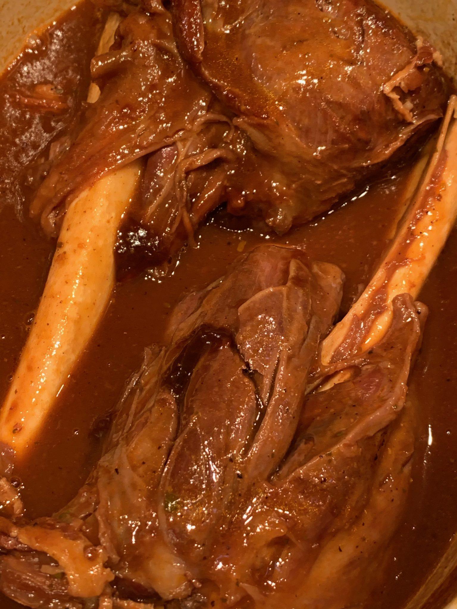 Lamb shanks cooked until tender
