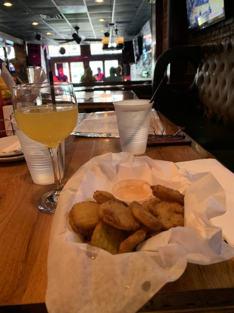 Fried Pickle Chips and a Mimosa