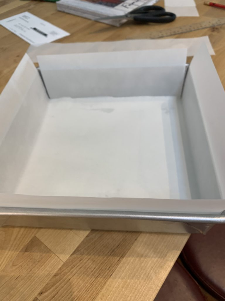 Line a square cake pan with parchment paper