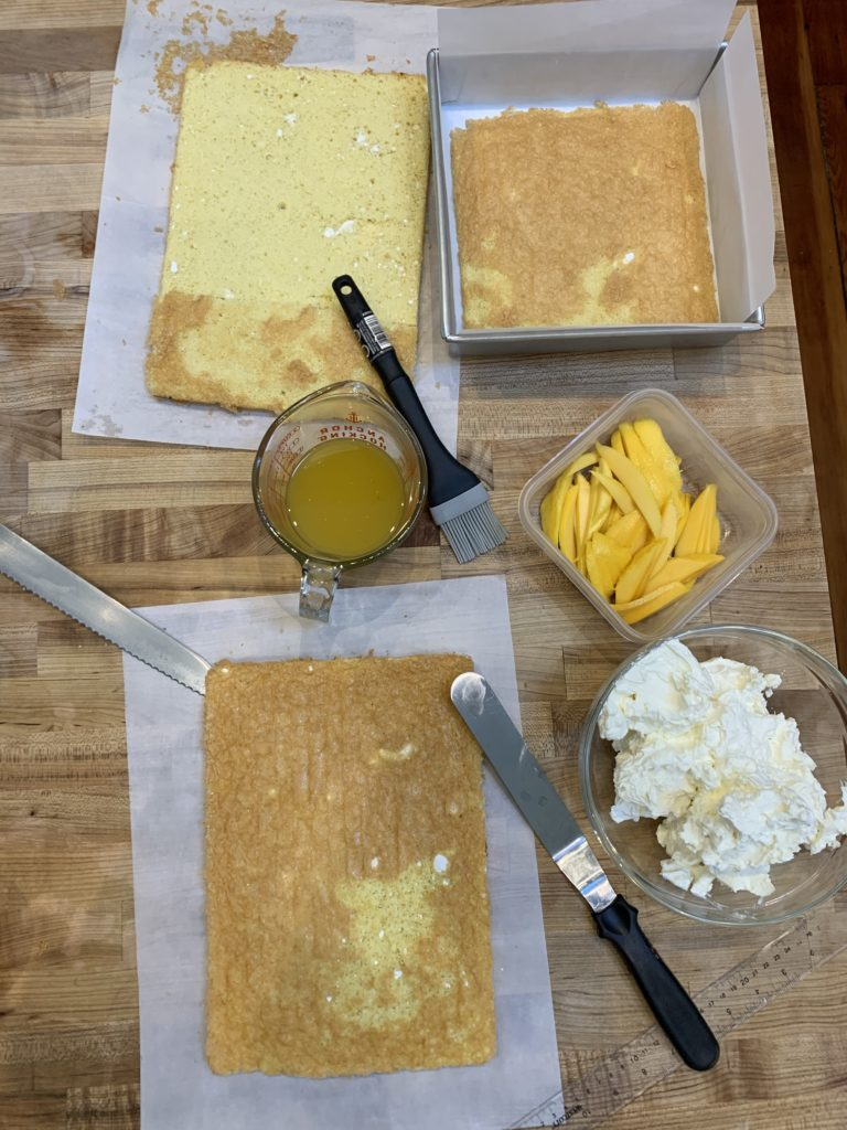 Everything needed to assemble a mango passion fruit tiramisu