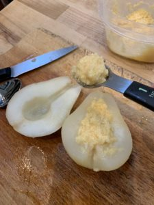 Pears cored and filled with almond paste