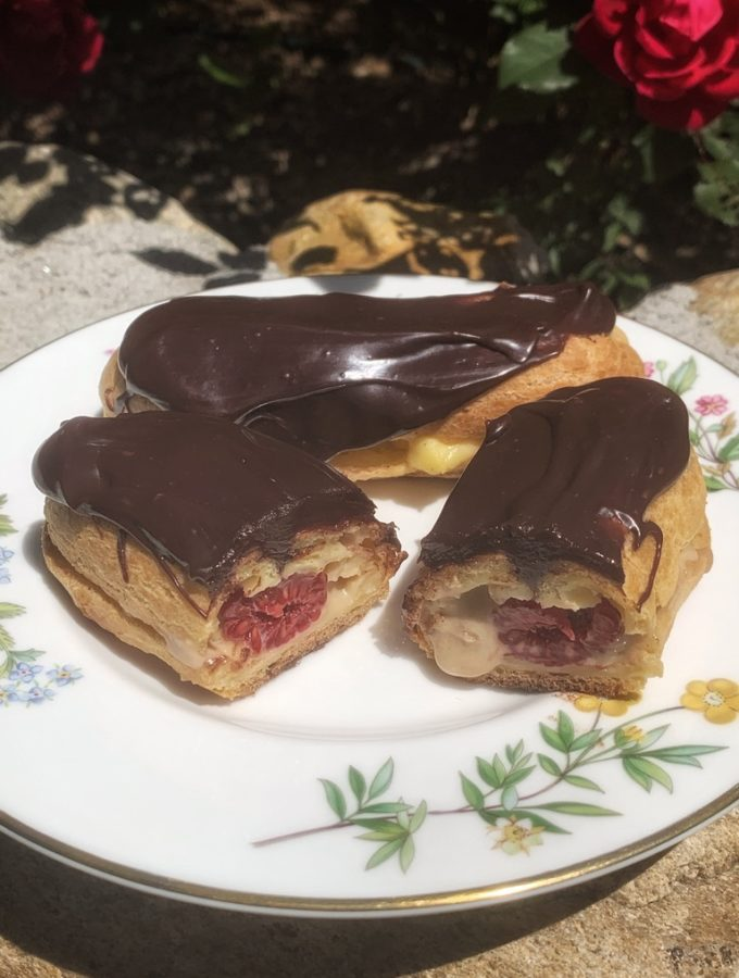 Chocolate and Raspberry Eclairs