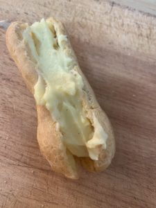 Creme Patisserie spread in an eclair shell