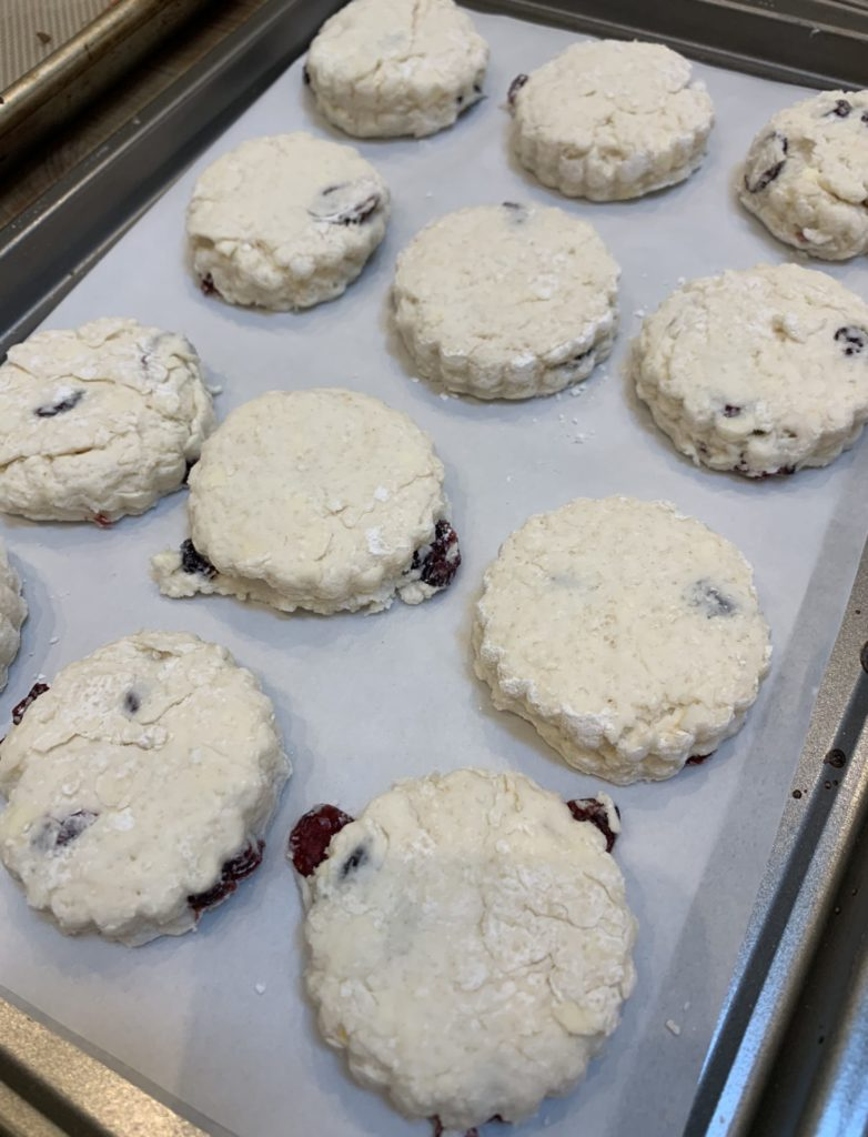 Scones on a cookie tray should be close together