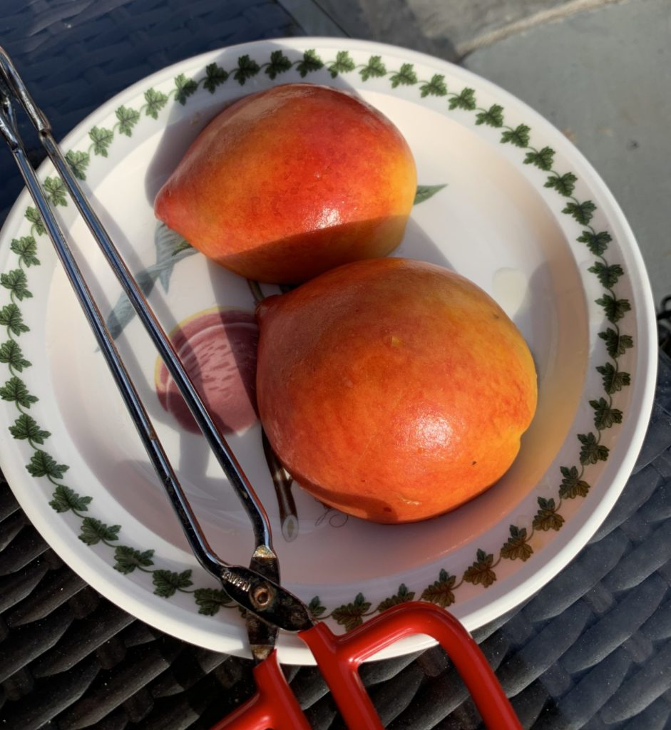Olive oil rubbed peaches