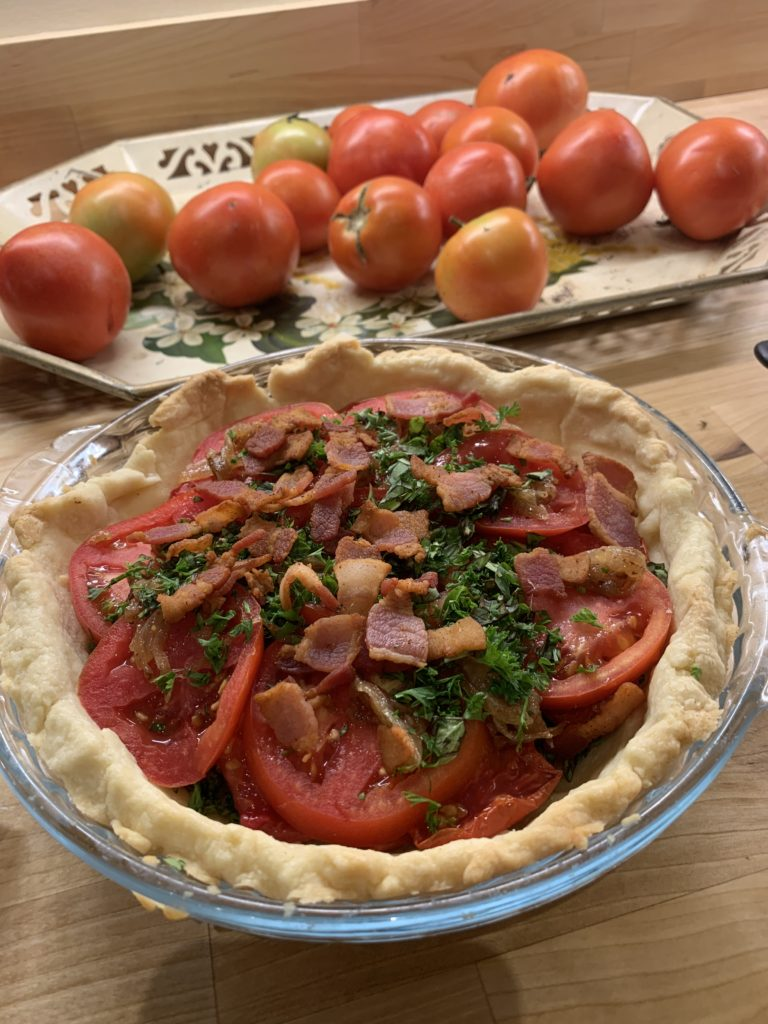 Tomato pie before pimento cheese is added