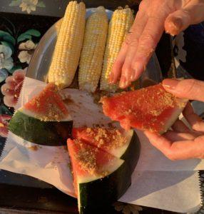 Preparing watermelon for grilling