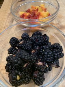 Diced Peaches and halved blackberries
