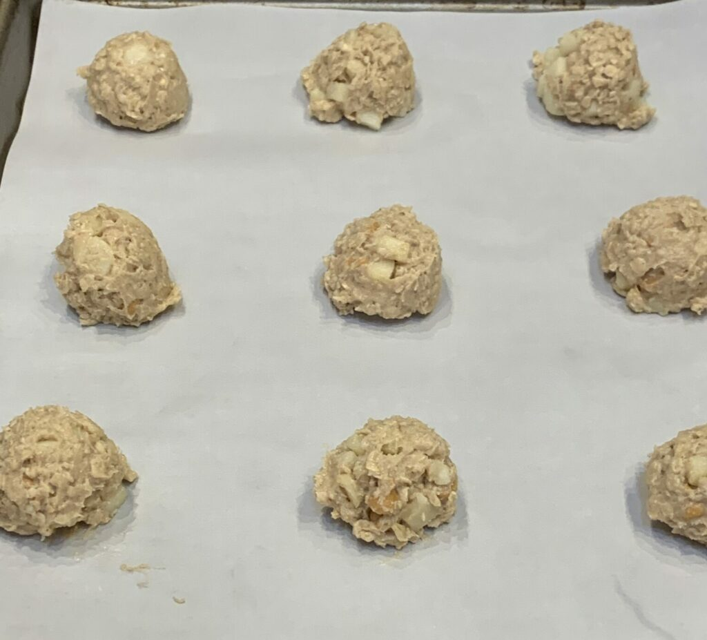Drop cookies prior to baking