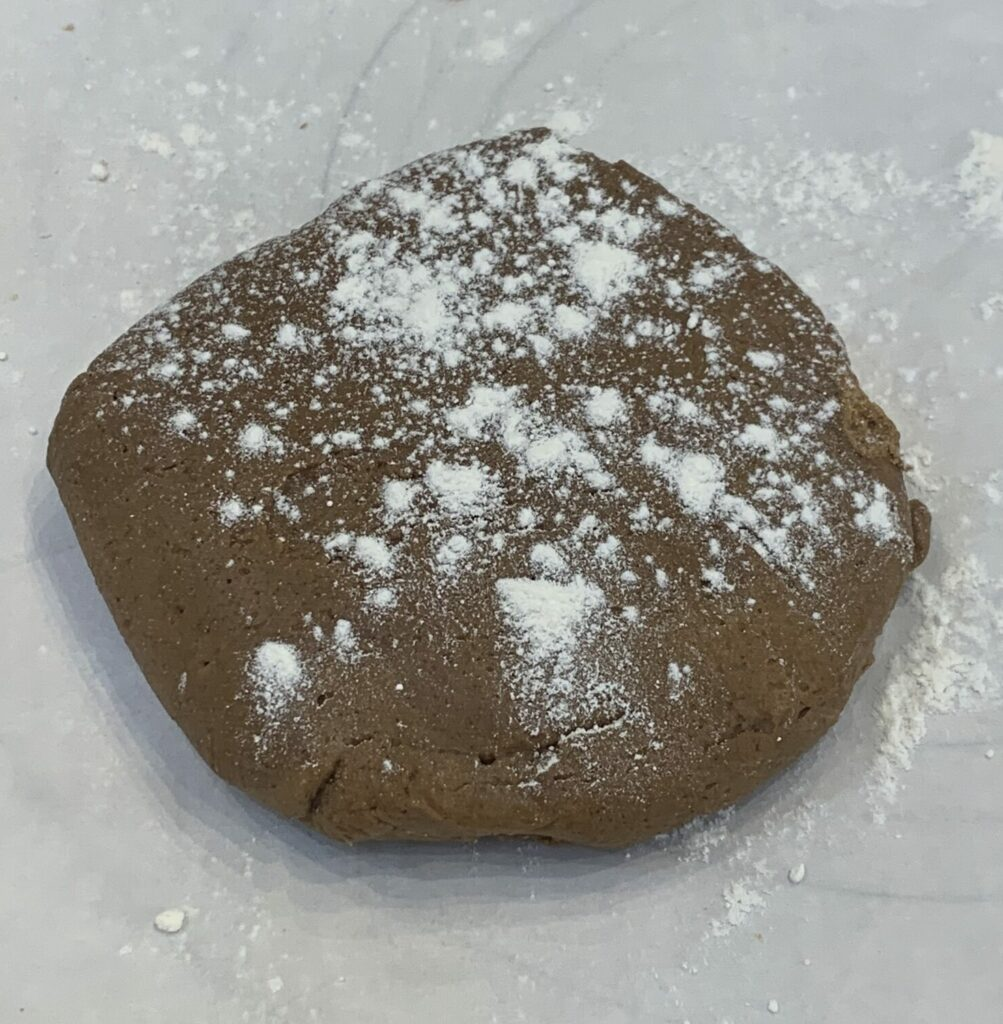 Gingerbread dough prepared for rolling