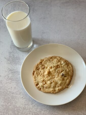 A cookie and a glass of milk