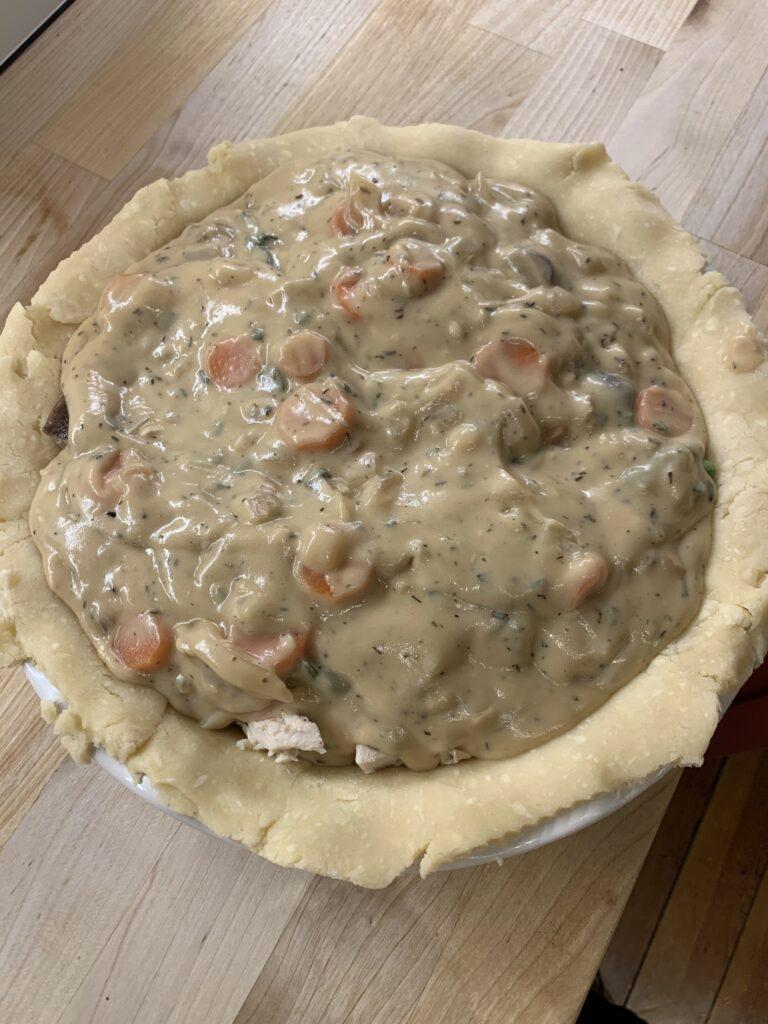 Gravy on an unbaked pot pie