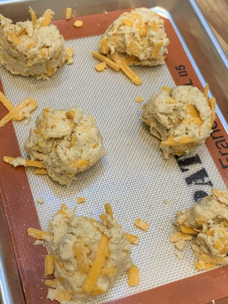 Cheese Biscuits on a baking tray