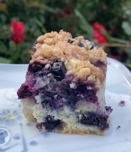 Showing the fruit distrubuted throughout a piece of Blueberry Buckle