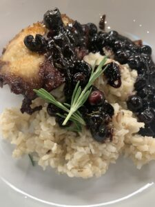 Sauteed Chicken thighs with blueberry sauce